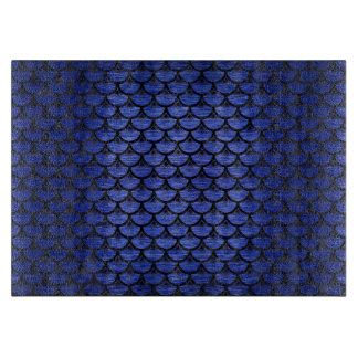 SCALES3 BLACK MARBLE & BLUE BRUSHED METAL (R) CUTTING BOARD