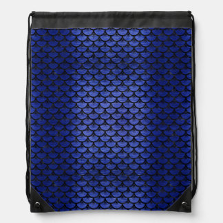 SCALES3 BLACK MARBLE & BLUE BRUSHED METAL (R) DRAWSTRING BAG