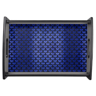 SCALES3 BLACK MARBLE & BLUE BRUSHED METAL (R) SERVING TRAY
