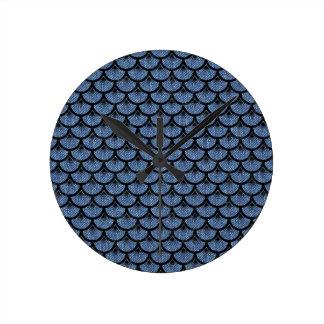 SCALES3 BLACK MARBLE & BLUE DENIM (R) ROUND CLOCK