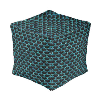 SCALES3 BLACK MARBLE & BLUE-GREEN WATER POUF