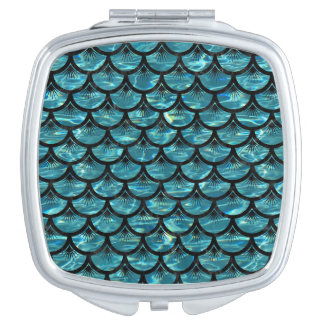 SCALES3 BLACK MARBLE & BLUE-GREEN WATER (R) MAKEUP MIRROR