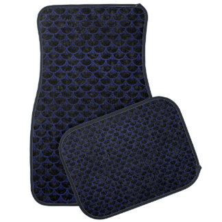 SCALES3 BLACK MARBLE & BLUE LEATHER CAR MAT