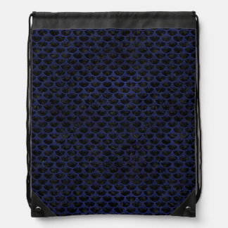 SCALES3 BLACK MARBLE & BLUE LEATHER DRAWSTRING BAG