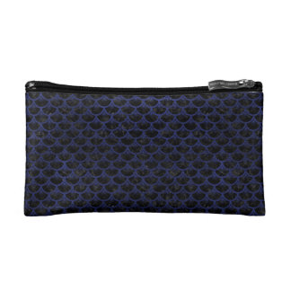 SCALES3 BLACK MARBLE & BLUE LEATHER MAKEUP BAG
