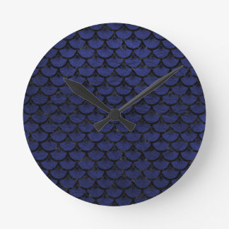 SCALES3 BLACK MARBLE & BLUE LEATHER (R) ROUND CLOCK
