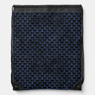 SCALES3 BLACK MARBLE & BLUE STONE DRAWSTRING BAG