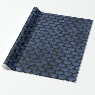 SCALES3 BLACK MARBLE & BLUE STONE (R) WRAPPING PAPER