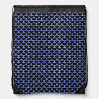 SCALES3 BLACK MARBLE & BLUE WATERCOLOR DRAWSTRING BAG