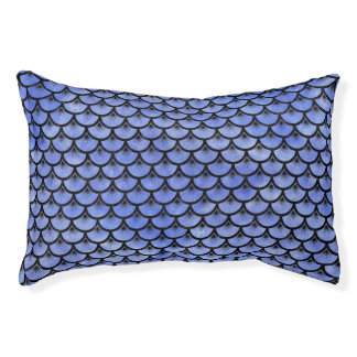 SCALES3 BLACK MARBLE & BLUE WATERCOLOR (R) PET BED
