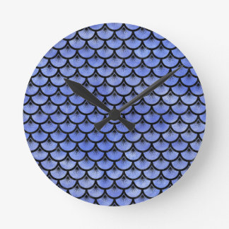 SCALES3 BLACK MARBLE & BLUE WATERCOLOR (R) ROUND CLOCK