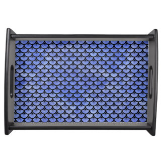 SCALES3 BLACK MARBLE & BLUE WATERCOLOR (R) SERVING TRAY