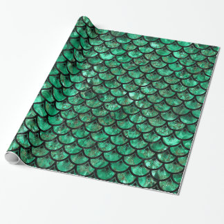 SCALES3 BLACK MARBLE & GREEN MARBLE WRAPPING PAPER