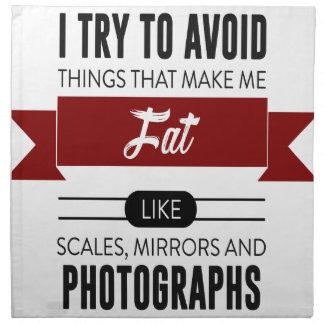 Scales Mirrors Photographs Make Me Fat Napkin