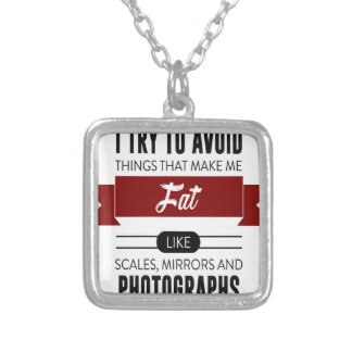 Scales Mirrors Photographs Make Me Fat Silver Plated Necklace
