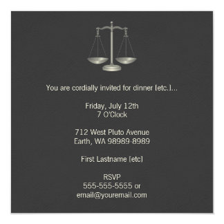 Scales of Justice 13 Cm X 13 Cm Square Invitation Card