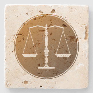 Scales of Justice Stone Beverage Coaster