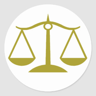 Scales of Justice - Gold Classic Round Sticker