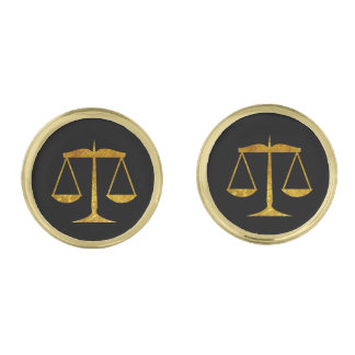Scales of Justice Gold Finish Cuff Links