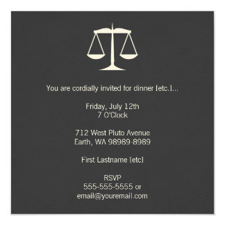 Scales of Justice 13 Cm X 13 Cm Square Invitation Card