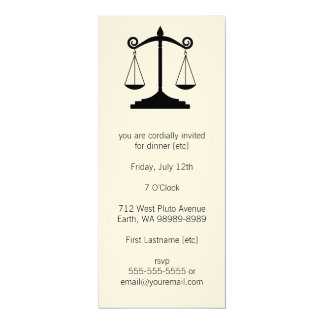 Scales of Justice (Law) 10 Cm X 24 Cm Invitation Card