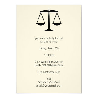 Scales of Justice (Law) 14 Cm X 19 Cm Invitation Card