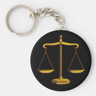 Scales of Justice | Law Basic Round Button Key Ring