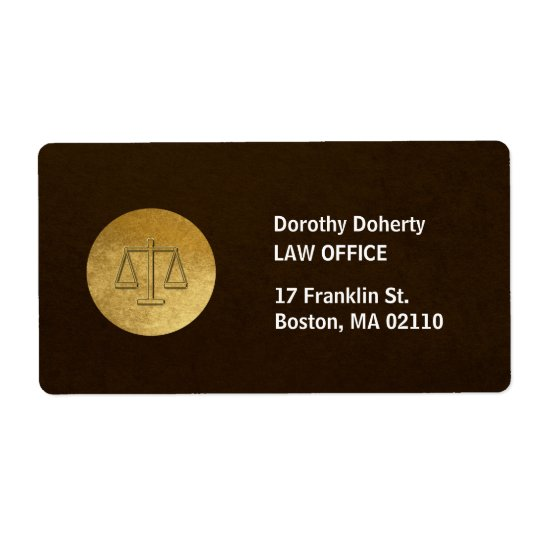 Scales of Justice   Law Firm Shipping Label