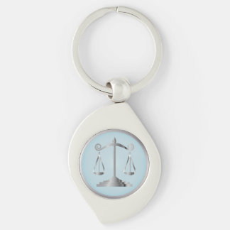 Scales of Justice | Law | Lawyer | Aqua Blue Key Ring