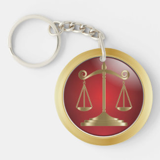 Scales of Justice | Law | Lawyer Double-Sided Round Acrylic Key Ring