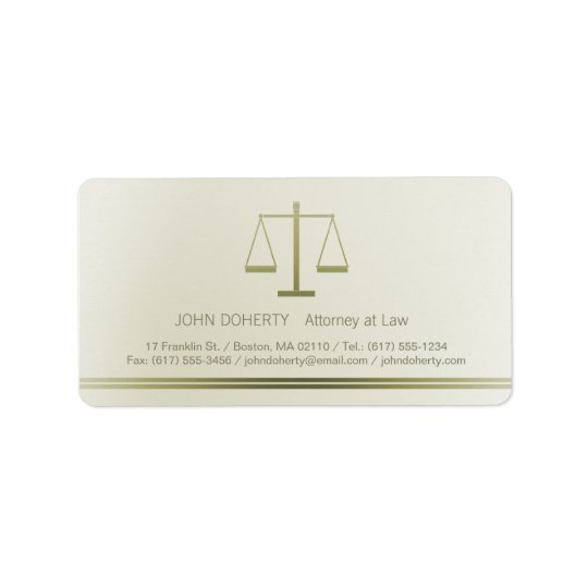 Scales of Justice | Lawyer Address Label