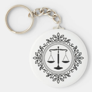 Scales of Justice |  Lawyer Basic Round Button Key Ring