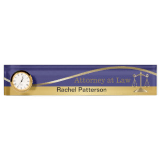 Scales of Justice | Lawyer | Blue & Gold Name Plates