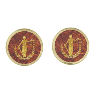Scales of Justice on Burl Pattern Gold Finish Cufflinks