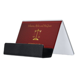Scales of Justice on Dark Red Leather Desk Business Card Holder