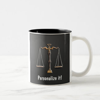 Scales of Justice on Ebony - PERSONALIZE IT! Two-Tone Mug