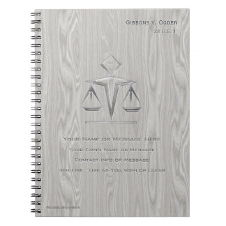 Scales of Justice on Gray Wood (Personalized) Note Book
