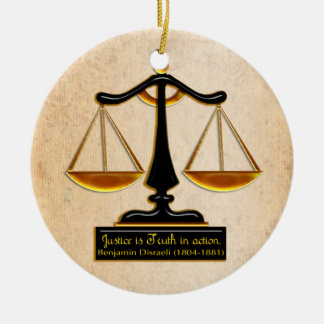 Scales of Justice on Parchment (Personalised) Ceramic Ornament