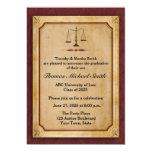 Scales of Justice, Parchment, Grad Announcement 13 Cm X 18 Cm Invitation Card