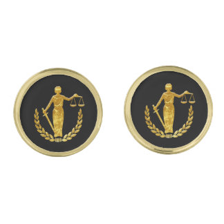 Scales of Justice Personalize Gold Finish Cufflinks