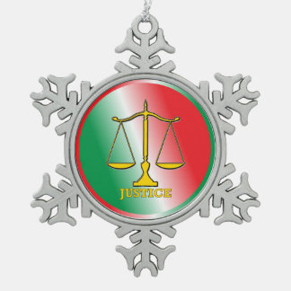 Scales Of Justice Pewter Snowflake Decoration