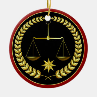 Scales of Justice Round Ceramic Decoration