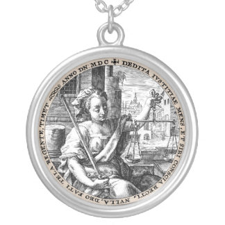 Scales of Justice Round Pendant Necklace