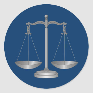 Scales of Justice Round Sticker