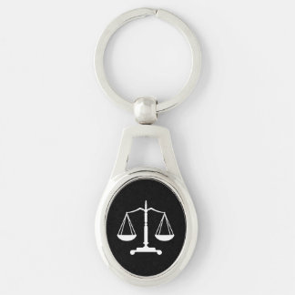 Scales of Justice Silver-Colored Oval Key Ring