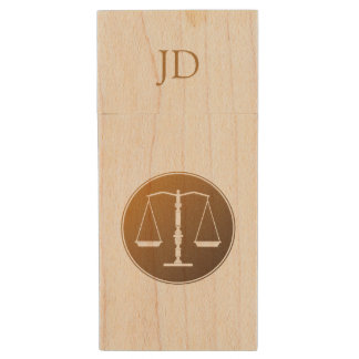 Scales of Justice with Initial Wood USB 2.0 Flash Drive