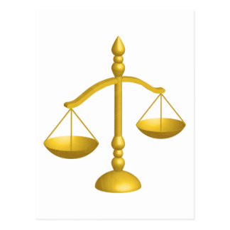 SCALES OF LAW AND JUSTICE POSTCARD