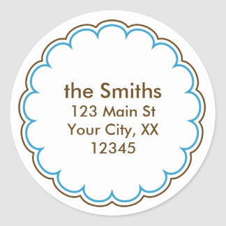 Scallop Address Stickers in Blue