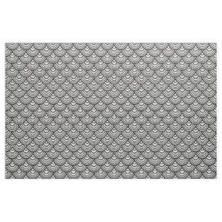 Scallop Scale Pattern Black and White Fabric