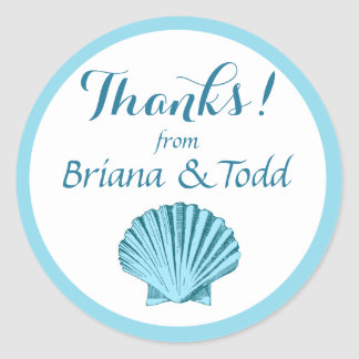 Scallop Seashell Beach Thank You | mint blue Classic Round Sticker